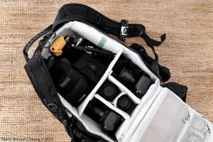 LowePro Pro Tactic 450 AW with two Fuji X-T2, four lenses, small RRS tripod, Leica binoculars, writing material, Maxpedition, pouches and a Peak Design Capture Pro.