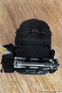 LowePro Pro Tactic 450 AW with two 5.11 H2O water carriers, one Nalgene bottle, and a carbon Gitzo tripod.